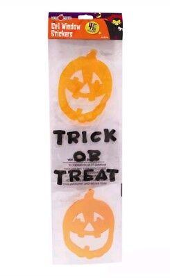 Halloween Gel Window Stickers Clings trick or treat free uk p&p  - Halloween Window Clings Uk
