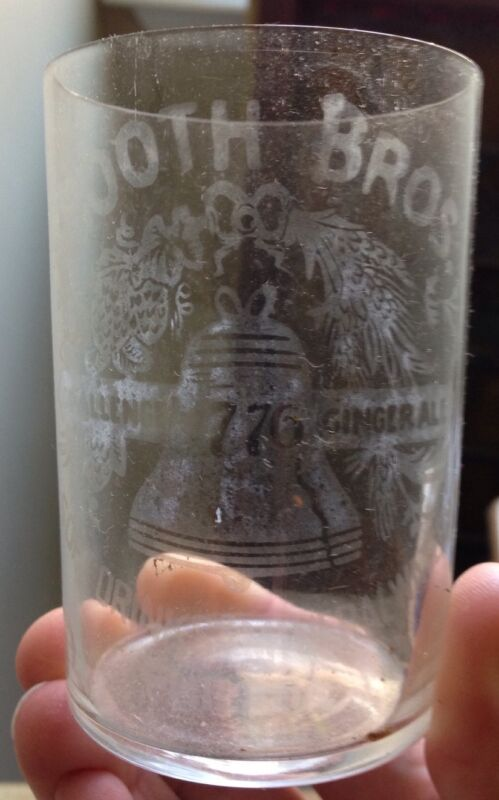 c. 1900s BOOTH BROTHERS SODA MINERAL WATER GLASS, GINGER ALE, PHILADELPHIA, PA