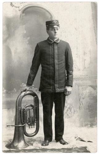 MUSICIAN IN UNIFORM NUMBERED CAP UPRIGHT PISTON VALVE Eb TUBA RPPC PHOTO