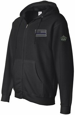 Blue Line Flag Midweight Hooded Full-Zip Sweatshirt
