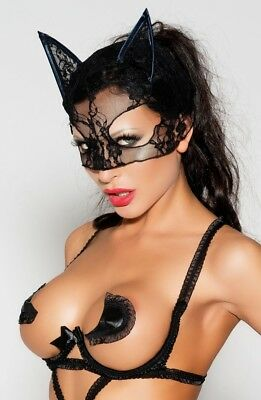 Sexy Black Seductive Kitten Cat Mask Lace Ears Satin Edging Halloween Fancy Dres ()