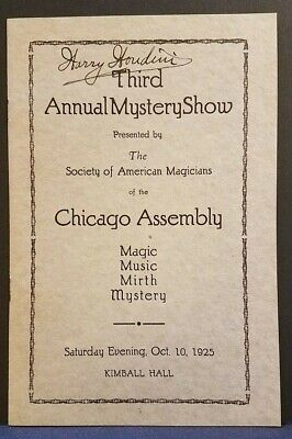 HARRY HOUDINI Signed Autographed Third Annual Mystery Show Program