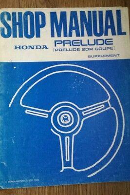 Honda Prelude Shop Manual Supplement 1984