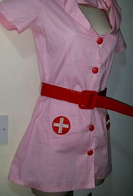 Adult Sexy Nurse Uniform Ladies Fancy Dress Costume Hen Party Pink Outfit Size S
