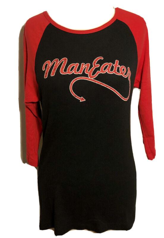 HALL & OATS RAGLAN SHIRTS Womens XL Stretchy Red Black 3/4 Sleeve Man Eater GIFT