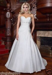 STOCK-CLASSIC-White-Ivory-Taffeta-Wedding-dress-Bridal-Gown-Size-6-8-10-12-14-16
