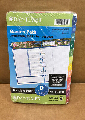 Day-timer 13476 Garden Path Planner Refill 2020 Jan-dec 2 Pagesday Size 4