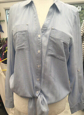 Jones New York Blue & White Stripe Long Sleeved Tie Shirt Size  16 18 Bnwt 💙