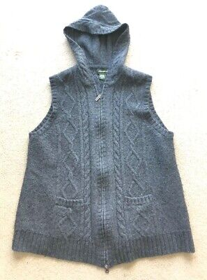 Eddie Bauer Womens Cable Knit Hooded Vest Gray Zip Up XXL 2XL Cotton Blend Cable Knit Zip