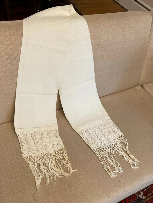 Antique White Linen Pennsylvania Show Towel Fringe Vintage Hand Made Open Work