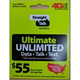 Straight Talk Rob 55 Refill Card Unlimited Talk Text Ultimate 30 Day $55 Top Up