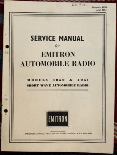 Service Manual for Emitron Automobile Radio Models 4050 & 4051