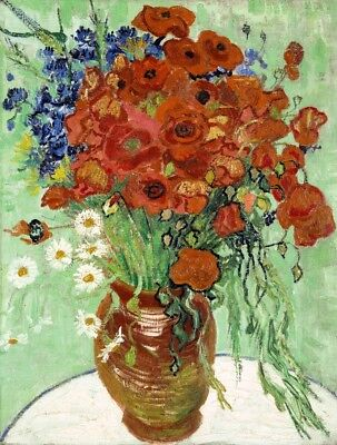 Vase with Daisies and Poppies Painting by Vincent van Gogh Art (Vincent Van Gogh Vase)