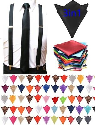 Ties And Suspenders (Skinny Neck ties suspenders and & Pocket Square Hankie Set Formal Party Wedding)
