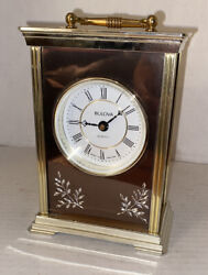 Bulova Etched Quartz Desk Mantle Clock, Made In England, German Kienzle Movement