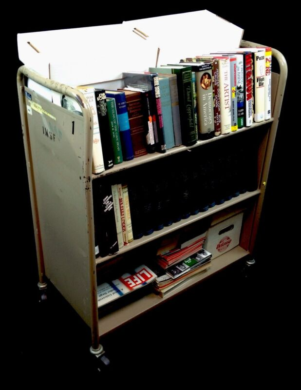 """CART ONLY"" Manufactured Book Utility Cart, 2 Slant & One Shelf."