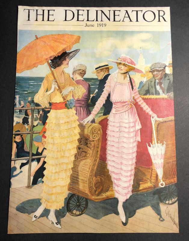Rare Delineator 1919 Cover 2 Pretty Ladies Fashion Dressed Great Art Original