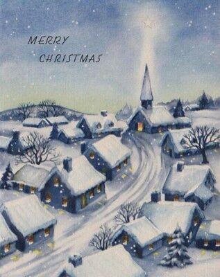 VTG 1947 SNOWY CHRISTMAS VILLAGE SCENE CHURCH CHARLES CULP GREETING CARD