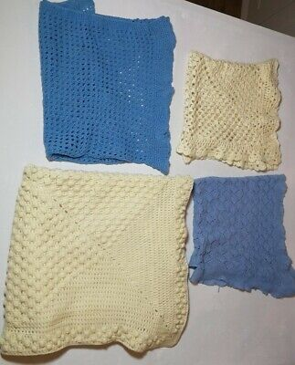 Vintage Mid Century Hand Knitted Bundle Baby Crib Blankets