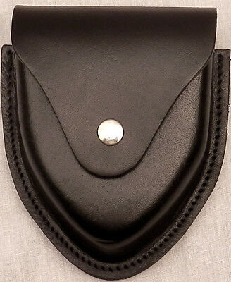 """Leg Irons Leather Carrying Case Black with Chrome/Silver Snap Fits 2 1/2"""" Belt"""