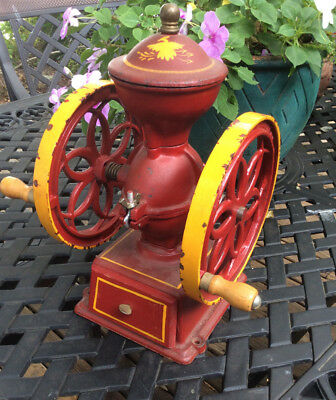 Vintage John Wright Cast Iron 2 Wheel Coffee Mill Grinder Wrightsville PA