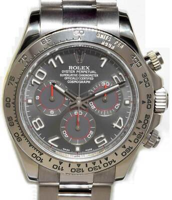 Rolex Daytona Chronograph 18k White Gold Gray Dial Watch & Box D 116509