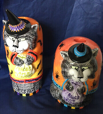 Fitz and Floyd Halloween Kitty Witches Taper Candlestick Holders