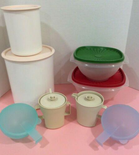 Lot of 8 Pieces Vintage Tupperware -Storage Containers -Bowls -Sugar/Creamer