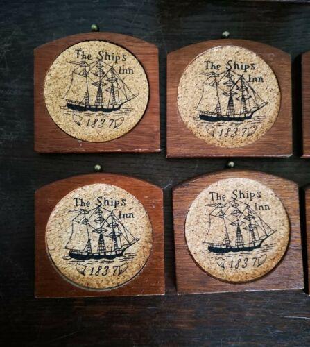 Ancien vintage ensemble de 6 sous verres en bois