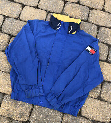 Vintage 90s Tommy Hilfiger Sailing Jacket Blue Color Block Spell Out Rare Mens L