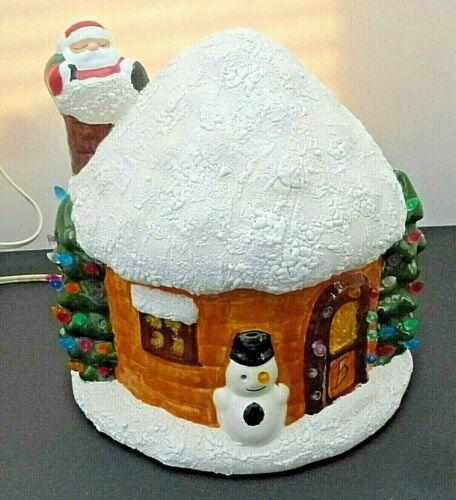 Vintage Light Up Ceramic Christmas Tree Igloo House Santa Snowman Vintage Decor