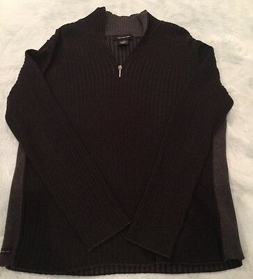 Calvin Klein Men's Sweater Black Gray Size L Ribbed 100% Cotton Long Sleeve