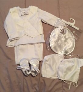 Boys 9M baptism outfit with 2 hats bib suit and shoes..