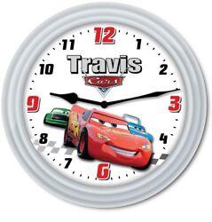 Cars Lightning McQueen PERSONALIZED Wall Clock - Disney Pixar Kids Bedroom GIFT