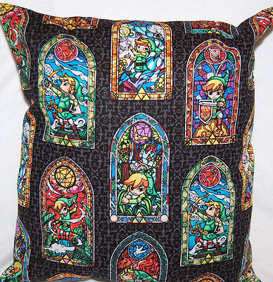 NEW HANDMADE NINTENDO LEGEND OF ZELDA LINK STAINED GLASS WINDOW PILLOW