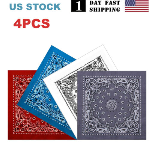 4PCS Bandanas Face Covering Mask Paisley Print 4 Colors Halloween Cos USA STOCK Clothing, Shoes & Accessories