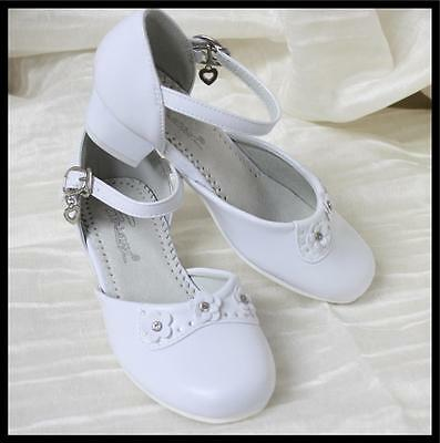 Girls White Formal Dress Party Wedding Shoes Bridesmaid Flow
