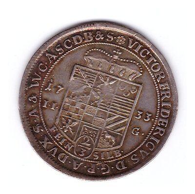Anhalt Bernburg: 2/3 Taler 1733 Stolberg  (Gulden) -> RARE !!! Erhaltung