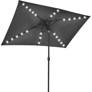 garden 10 39 x6 5 39 solar 26 led lights aluminium patio umbrella rect. Black Bedroom Furniture Sets. Home Design Ideas