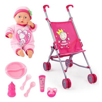 Buggy Puppenwagen Set mit Funktions Puppe Zubehör  30182 + 93363AN von Bayer