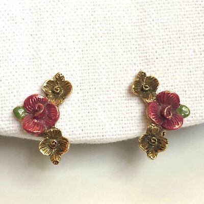 Roses Clip-on Earrings, Painted Gold-tone Vintage