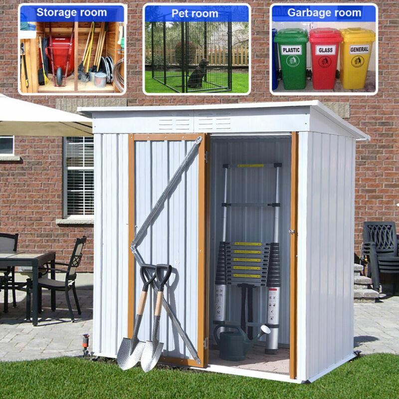 5ft x 3ft Metal Shed Tool Storage House Outdoor Garden Backyard White Modern USA