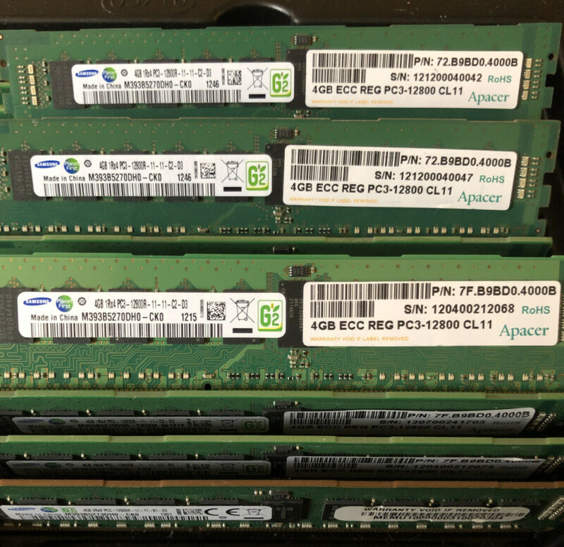 Lot of 16 Samsung 4GB 1Rx4 PC3-12800R DDR3 Memory Ram for server