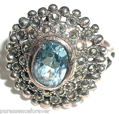 Sterling Silver Marcasite & Topaz Ring - Size P (new/boxed)