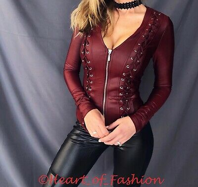 Women's SEXY Faux Leather Lace Up Detail Zip Front Fitted Club Blazer Top Jacket