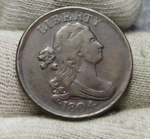 1804 Draped Bust Half Cent, Nice Coin, Free Shipping  (8141)