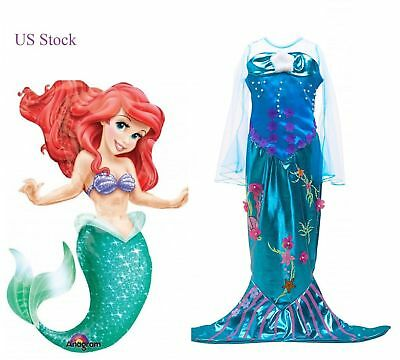 Girls Little mermaid Dress Princes Gown kids Costume Party Cosplay Dress Up ZG8](Little Kid Dress Up)
