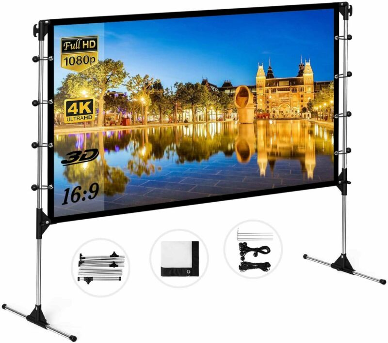 """60""""-150"""" Projector Screen 4K 16:9 Foldable Theater Movie Projection(w/o Stand)"""