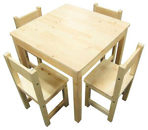 Kids Table Set - Square Childrens Table and 4 Chairs