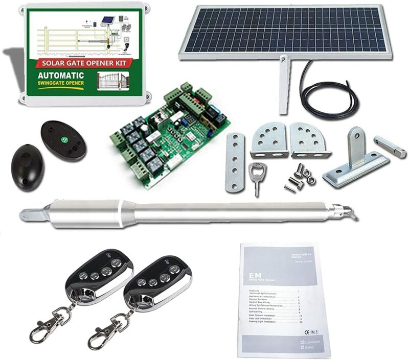 DCHOUSE Solar Single Architectural Series Automatic Gate Opener Kit 50M Control
